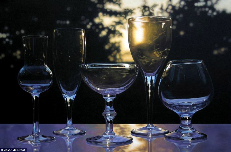 Picture-29 ( 30 Hyper-Realistic Acrylic Paintings by JasondeGraaf - Glass and Reflection )
